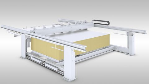 Massive scissor lift table for high-throughput series production